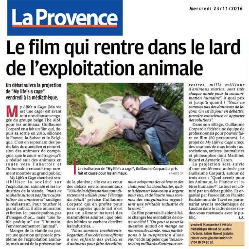 LA PROVENCE - 23 nov 2016 - Guillaume Corpard